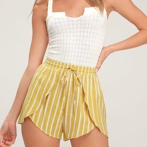 Lulus Yellow and White Striped Drawstring Shorts